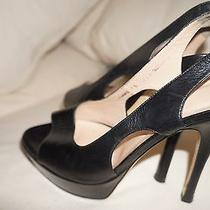 Bally Black Leather Platform Sling Back Pump Sz 8.5m High End Lux Brand Photo