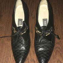 Bally Black Leather Quilted Pointed Toe Booties Heels Shoes Gold Chain 4 M Photo