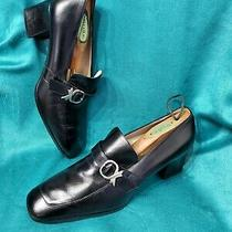 Bally Black Leather Slip on Block Heel Dress Pumps Shoes Size 9us 41 Eur. Photo