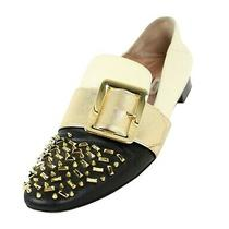Bally Black & White Two-Tone Studded Gold Buckle Janelle Slipper Loafers 40 Photo