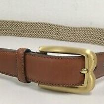 Bally Brown Leather Tan Woven Stretch Belt 34 Photo