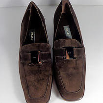 Bally Brown Pointed Toe Low Heel Pumps Flats Loafers Shoes Chrome S 9 Buckle  Photo