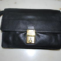 Bally Clutch Hand Bag Leather Black Gold Wallet Organizer Kindle Carrier Italy  Photo