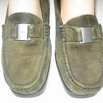 Bally Green Suede Loafers Flats  6.5 Tempest Signature Logo  Made in Italy 36.5 Photo