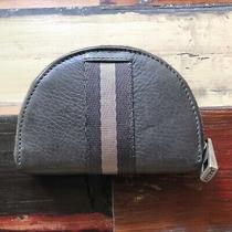 Bally Half Moon Full Zip Solid Grey Unisex Leather Coin Case With Logo on Zipper Photo