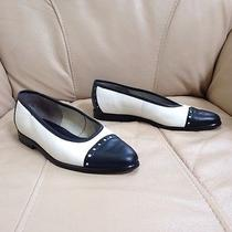 Bally High End White Leather Navy Blue Dress Flats Career Loafers Sz 5.5 M Photo