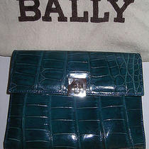Bally Italy Alligator Lamb Leather Wallet Card Travel Case Purse New  Bag Gift Photo