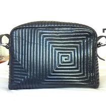 Bally Italy Geometric Leather Bag Leather Black  Photo