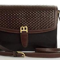 Bally Italy Vintage Black Brown Country Weave Leather Shoulder Bag Purse Handbag Photo