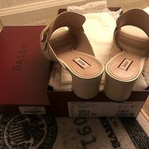 Bally Janaya Buckles Beige Calf Leather Mules With Block Heel us8.5/fr39 Photo