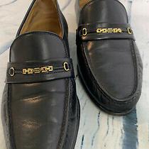 Bally Mens 8 D Black Leather Vtg Parawet Gold Logo Horsebit Dress Shoes Loafers Photo