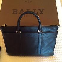 Bally Migan Grain Leather Flat Computer Bag Briefcase Photo