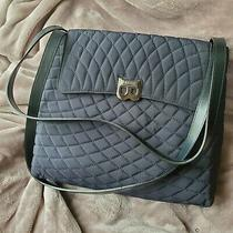 Bally Navy Blue Diamond Quilted Fabric Shoulder Bag Purse Italian Silver Closure Photo