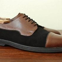 Bally of Switzerland Black Suede Brown Pebble Grain Leather Saddle Micro Sole Photo