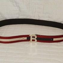 Bally Red and White Fabric and Leather Belt Size 120/48 Photo