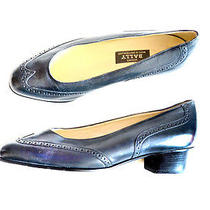 Bally Shoes Wingtip Shoes Low Heel Navy Pump Vintage Style Sz 6.5 European 4 Photo