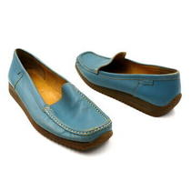 Bally Size 8 Blue Turquoise Leather Slip on Dera Loafer Flats Shoes Photo