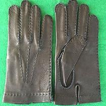 Bally Soft Black Leather Wrist Length Driving Gloves  8 Photo