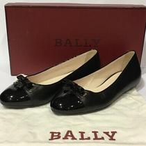 Bally Sofye Black Calf Patent Leather Ballerina Flats Bow Cap Toe - Sz 35.5 New Photo