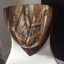 Bally Switzerland 100% Silk Hand Rolled Scarf/foulard Abstract Floral Brown 90cm Photo
