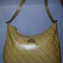 Bally Taupe Leather & Vinyl Logo Hobo Handbag Purse Photo