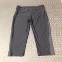 Bally Total Fitness Capri Pants Womens Athletic Running Black Gray Stripe Xl Photo