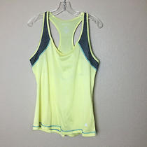 Bally Total Fitness Sz L Bright Yellow Laser Cut Overlay Tank Top Photo