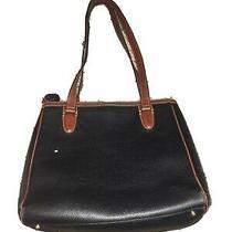 Bally Tote Bag Vintage Purse Handbag Canvas Leather Black Brown Designer Pre-Own Photo