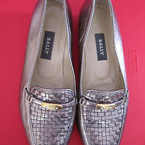 Bally Vanessa Pewter Metal Woven Ballet Flats Shoes 9m Photo