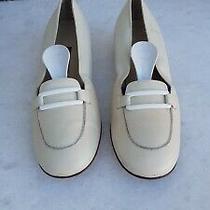 Bally Velusa Womens Flat Shoes Cream Leather Size Eu 38 1/2 Uk 5.5 Us 7.5 Photo