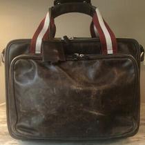 Bally Vintage Briefcase Brown Leather Locking Crossbody Messenger Bag Photo