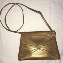 Bally Vintage Gold Leather Purse Clutch With Strap Cocktail Party Photo