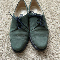 Bally Woman's Flats Size 4.5 E City Walk Green Suede Oxfords Vibram Sole Photo