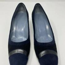 Bally Women 7 Blue Suede Cap Toe Heels Pumps Shoes 2