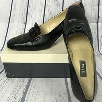 Bally Women's Black Leather Block Heel Vintage Shoes Metal Accent Size 8 Photo
