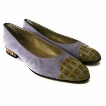 Bally Women's Flats Suede Reptile Leather Italy Size 40 Photo