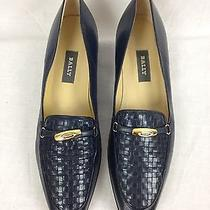 Bally Women's Shoes Navy Blue Leather Vanessa Loafer Low Heel Flats Sz 10 N Photo