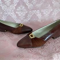 Bally Women's Size 8 Brown Leather Slip on Loafers Flats Gold Buckle Photo