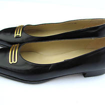 Bally Womens Black Leather Flats Made in Switzerland Sz 8.5 N Photo