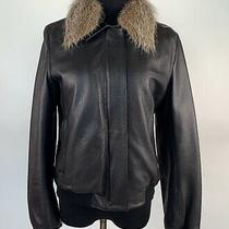 Bally Womens Deer Skin Leather Coat Jacket Fur Collar Made Italy Brown Size 42 Photo