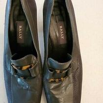 Bally Womens Heels Gray Pump With Tortoise Buckle Leather Shoes Us 8.5 /uk 7.5 Photo