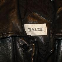 Bally Womens Size 20 Black Heavy Leather Warm Insulated Quilted Bomber Coat Photo