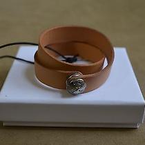 Balmain Beige Buffed Leather Wrap Around Wristband Cuff Bracelet Stud Logo S M Photo