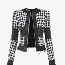 Balmain Black and White Houndstooth Tweed and Denim Suit Jacket Photo