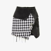Balmain Black and White Houndstooth Tweed and Denim Suit Skirt Photo