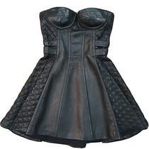 Balmain Black Leather Corset Mini Dress Dress Sz 36 Photo