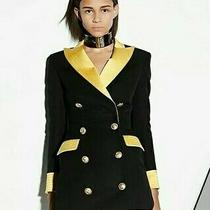 Balmain Black Wool Indian Gold Buttons Yellow Pockets a-Line Skirt Size 36 987 Photo