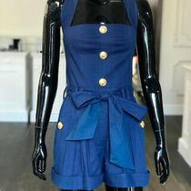 Balmain Blue Button Jumpsuit Cotton P00352241 Size Fr 36 It 40 S Size Us 4 Photo