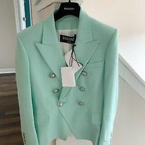 Balmain Double-Breasted Blazer Authentic Size 38 Mint Green W Silver Buttons Photo