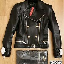 Balmain for h&m Women's Black Leather Biker Jacket - Uk10 Us6 Eu36 - New Photo